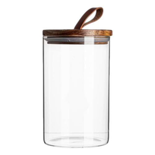 Argon Glass Jar with Bamboo & Leather Loop Lid 1020ml